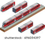 isometric train tracks and... | Shutterstock .eps vector #696054397