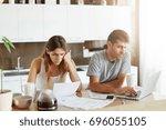 young caucasian couple having...   Shutterstock . vector #696055105