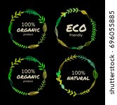 a set of bio or eco square and... | Shutterstock .eps vector #696055885