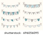 cute doodle buntings for baby... | Shutterstock .eps vector #696056095