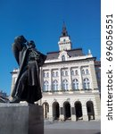 Small photo of NOVI SAD, SERBIA - JUNE 20, 2017: Statue of Svetozar Miletic,the most prominent Serbian political leader in Austria-Hungary, and the City Hall of Novi Sad.