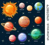 planets of the solar system.... | Shutterstock .eps vector #696058879