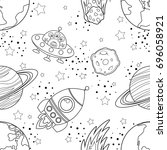 childish seamless space pattern ... | Shutterstock .eps vector #696058921