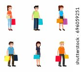 customers icons  set. shoppers  ... | Shutterstock .eps vector #696059251