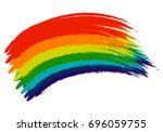 hand drawn rainbow stains... | Shutterstock .eps vector #696059755
