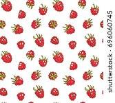berries fruit raspberry with... | Shutterstock .eps vector #696060745