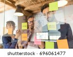 Stock photo business people meeting at office and use post it notes to share idea brainstorming concept 696061477