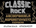 vintage font alphabet... | Shutterstock .eps vector #696064039