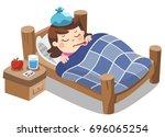 sick cute girl sleep in bed... | Shutterstock .eps vector #696065254