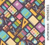 school items seamless pattern...   Shutterstock .eps vector #696068311