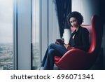 young cute biracial female... | Shutterstock . vector #696071341