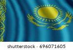 developing flag of kazakhstan.... | Shutterstock . vector #696071605