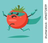 cute happy tomato cartoon... | Shutterstock .eps vector #696072859