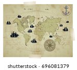 world map with compass  anchor... | Shutterstock .eps vector #696081379