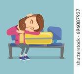 tired caucasian passenger... | Shutterstock .eps vector #696087937