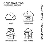cloud computing  square mini... | Shutterstock .eps vector #696087949