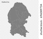 High Quality map of Coahuila is a state of Mexico, with borders of the municipalities