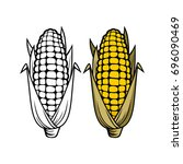 logo and symbol of corn for... | Shutterstock .eps vector #696090469