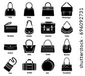 woman bag types icons set.... | Shutterstock .eps vector #696092731