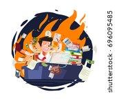 stressed businessman working...   Shutterstock .eps vector #696095485