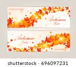 collection of autumn sale and... | Shutterstock .eps vector #696097231
