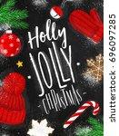 poster lettering holly jolly... | Shutterstock .eps vector #696097285