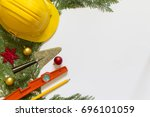 protective helmet  mason tools  ... | Shutterstock . vector #696101059