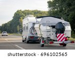 caravan with trailer for motor...