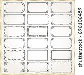 decorative vintage frames... | Shutterstock .eps vector #696106459
