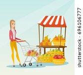 young caucasian woman pushing a ... | Shutterstock .eps vector #696106777