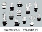 vector black and white cactus... | Shutterstock .eps vector #696108544