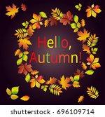 hello  autumn. multicolored... | Shutterstock .eps vector #696109714