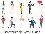 groom  bride and wedding scenes ... | Shutterstock .eps vector #696111055