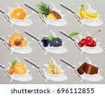 fruit and berries yogurt. milk... | Shutterstock .eps vector #696112855