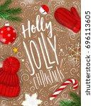 poster lettering holly jolly... | Shutterstock .eps vector #696113605
