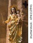 Small photo of Virgin Marie, Madonna and child, statue in the Saintes-Marie-de-la-Mer, church