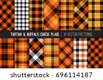 halloween tartan and buffalo... | Shutterstock .eps vector #696114187
