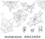 set of cobwebs and spiders... | Shutterstock .eps vector #696114424