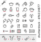 kitchen icons for cooking... | Shutterstock .eps vector #696114877
