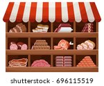meat farmer shop. counter with...   Shutterstock .eps vector #696115519