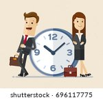 business man and woman with a... | Shutterstock .eps vector #696117775