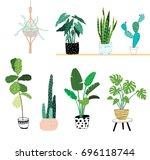 doodle house plants | Shutterstock .eps vector #696118744