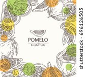 background with pomelo and... | Shutterstock .eps vector #696126505