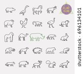 animals line icons set | Shutterstock .eps vector #696134101