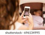 motherhood  technology and... | Shutterstock . vector #696134995