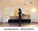 burial  people and mourning... | Shutterstock . vector #696136441