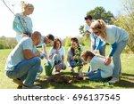 volunteering  charity  people... | Shutterstock . vector #696137545