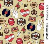 vector seamless rock pattern | Shutterstock .eps vector #696139171