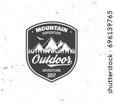 mountain expedition badge....   Shutterstock .eps vector #696139765