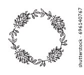 hand drawn wreath. floral... | Shutterstock . vector #696140767